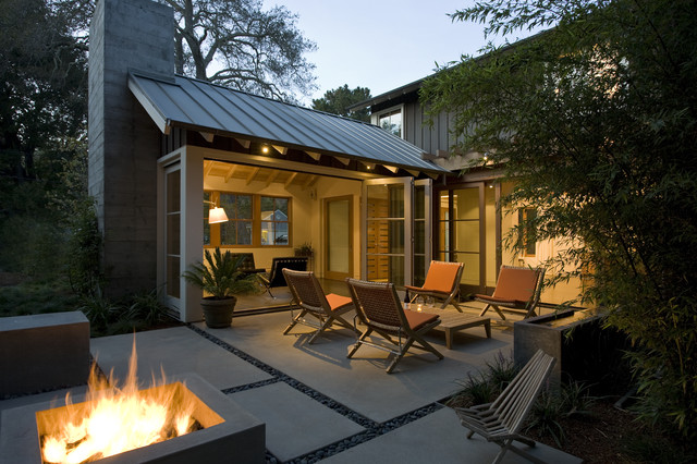 Custom Agrarian Style Residence transitional-patio