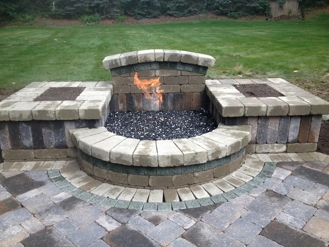 Custom Brick Fire Pit - Transitional - Patio - Detroit ...