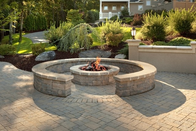 Custom Brick Patio With Fire Pit And Sitting Wall - Traditional - Fire Pit Patio Dwight Designs