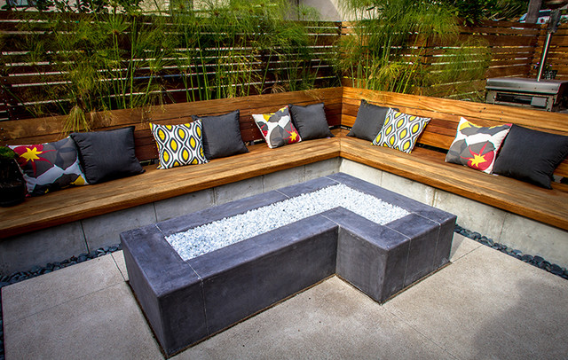 Custom Concrete Fire Pit Modern Patio San Diego By