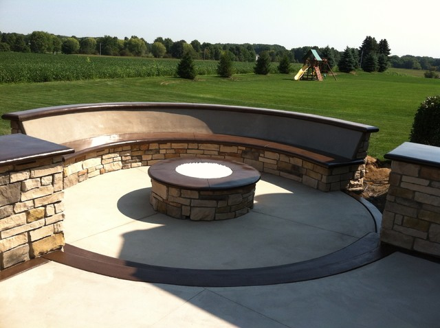 Custom Concrete Seating Bench Around Gas Firepit Traditional Patio Cleveland By Klein 39 S