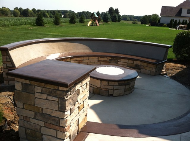 Custom concrete seating bench around gas firepit traditional patio cleveland by klein 39 s Fire pit benches