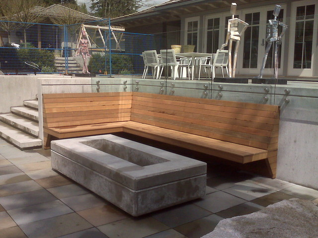 Custom Contemporary Fire Pit And Built In Bench