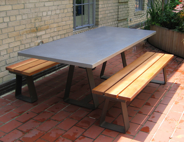 Custom Contemporary Outdoor Table With Steel Base