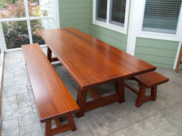 Custom Dining Table And Benches Traditional Patio