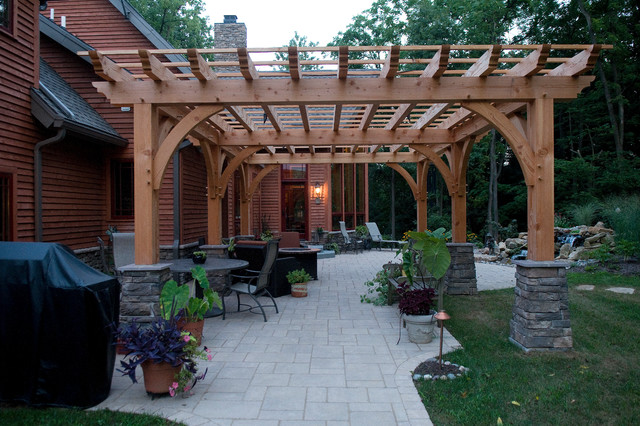 Custom Home   Timber Frame Dream Contemporary Patio