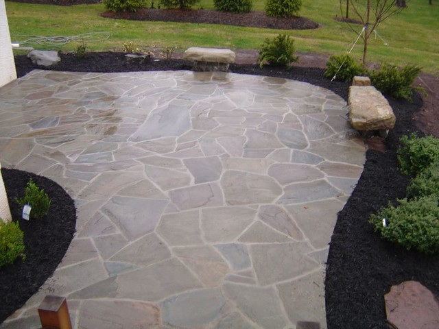 Custom Irregular Flagstone Patio With Boulder Benches Traditional