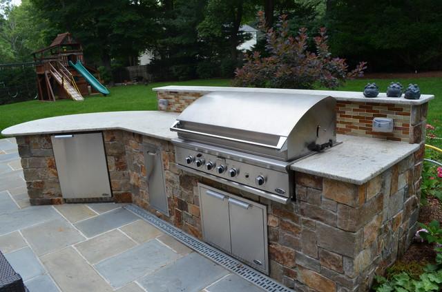Custom Outdoor Bar & BBQ Grill Design & Installation Bergen County NJ  traditional-patio
