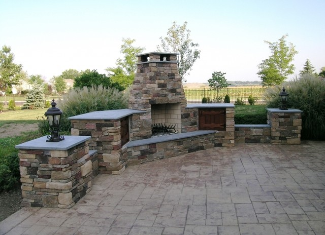 Custom Outdoor Patios : Custom Outdoor Fireplace with Wood Storage and Patio Lighting