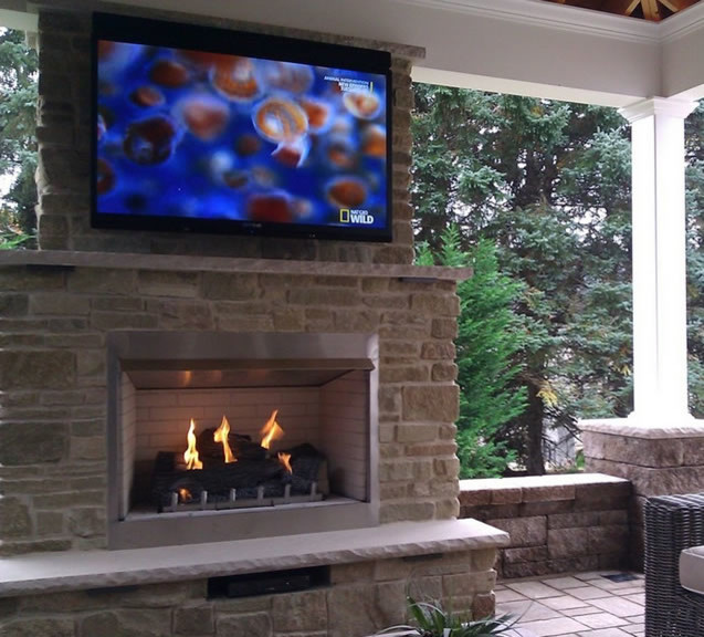 Custom Outdoor Gas Fireplace By Fine S Gas Traditional