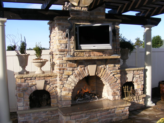 Custom Outdoor Kitchen and Fireplace  Traditional  Patio  st louis