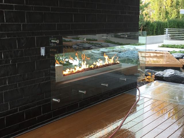 Custom Outdoor Linear Fireplace Contemporary Patio Vancouver