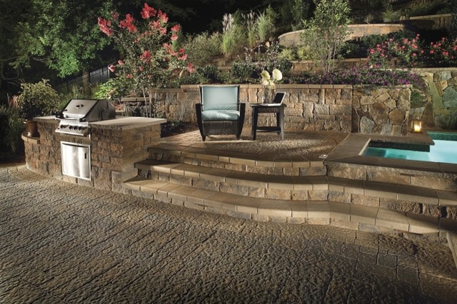 Custom patio design retaining wall and landscape design for Custom landscape design