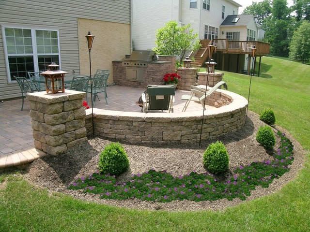 Elegant Custom Patio: Grill, Pillars, Sitting Wall Traditional Patio