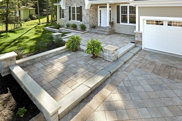 Custom Paver Front Walkway and Driveway - Traditional - Patio ...