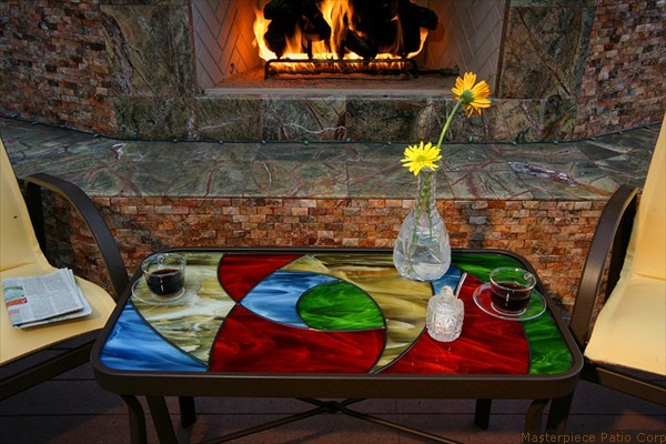 Custom Stained Glass Patio Furniture