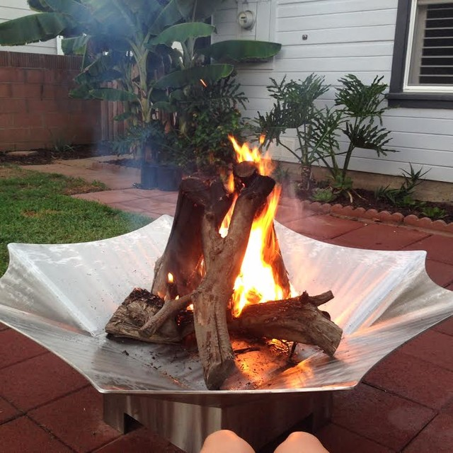 Custom Stainless Steel Wood Burning Fire Pit - Contemporary - Patio - by Brower Systems, Inc.
