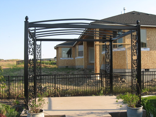 Custom steel pergola patio other by ironesque inc for Metal frame pergola designs