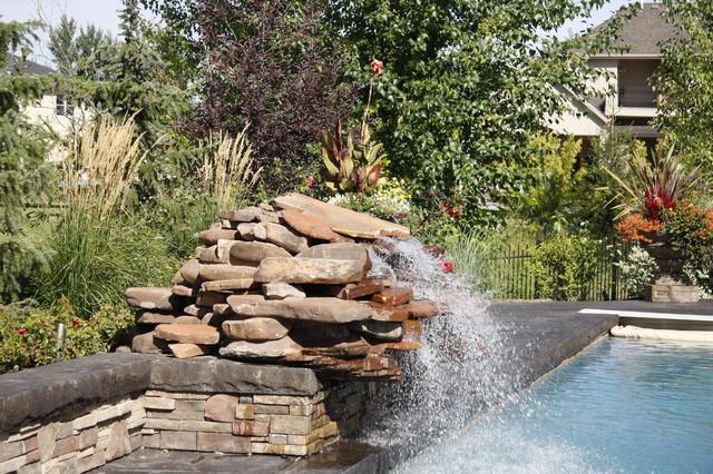 Pool paradise rustic boise by farwest landscape for Pool design boise