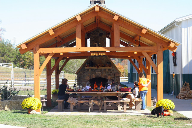 Cypress Timber Frame Pavilion in Tennessee - Rustic - Patio ...