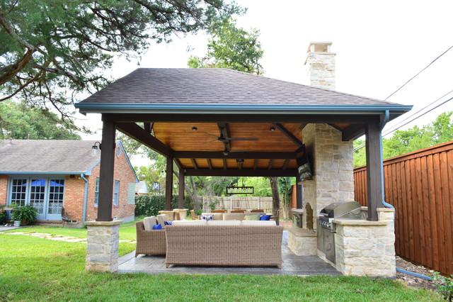 Dallas TX Custom Backyard Cabana - Farmhouse - Patio ... on Patio Cabana Ideas id=24004