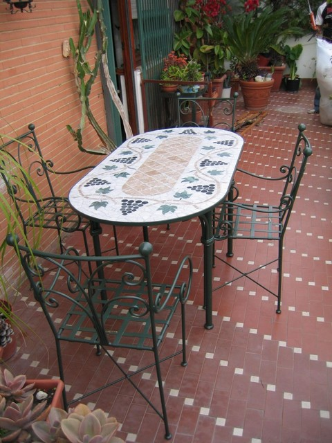 Dante Negro Iron & Stone Patio Furniture