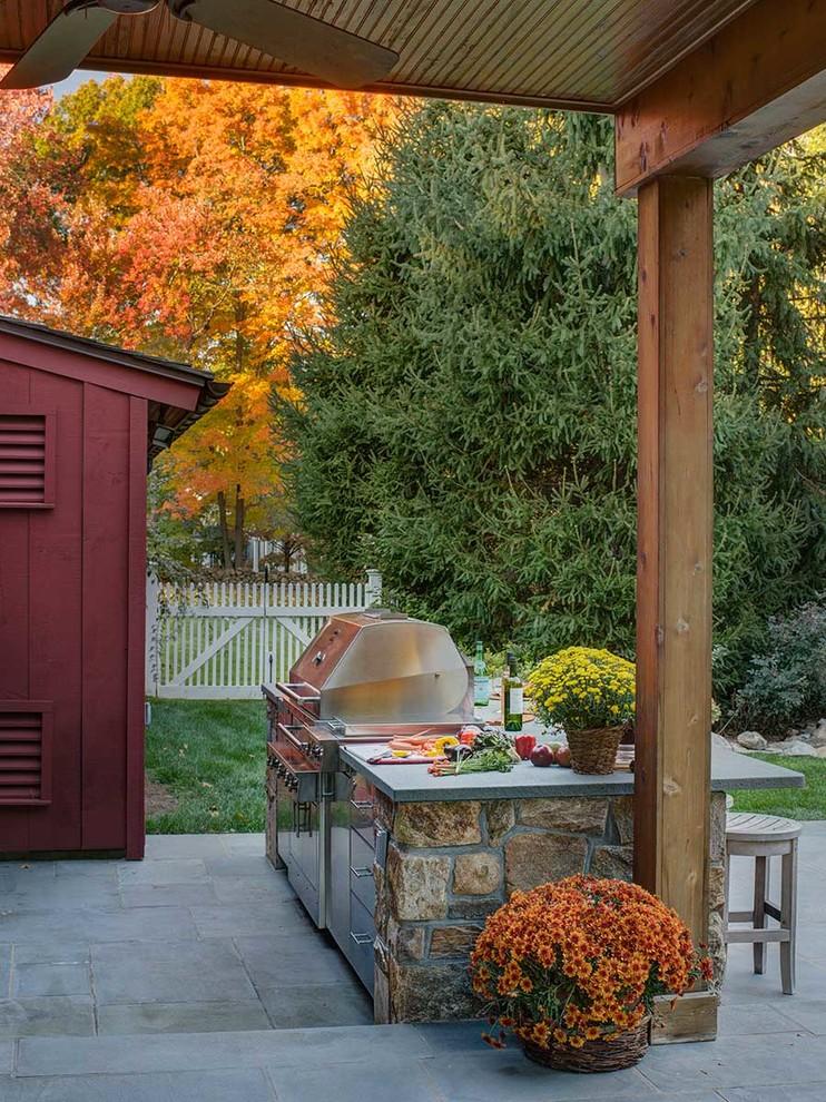 Darien, Connecticut Outdoor Kitchen - Farmhouse - Patio ...