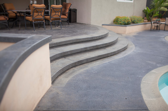 Dark Stamped Concrete Steps - Transitional - Patio - Orange County ...