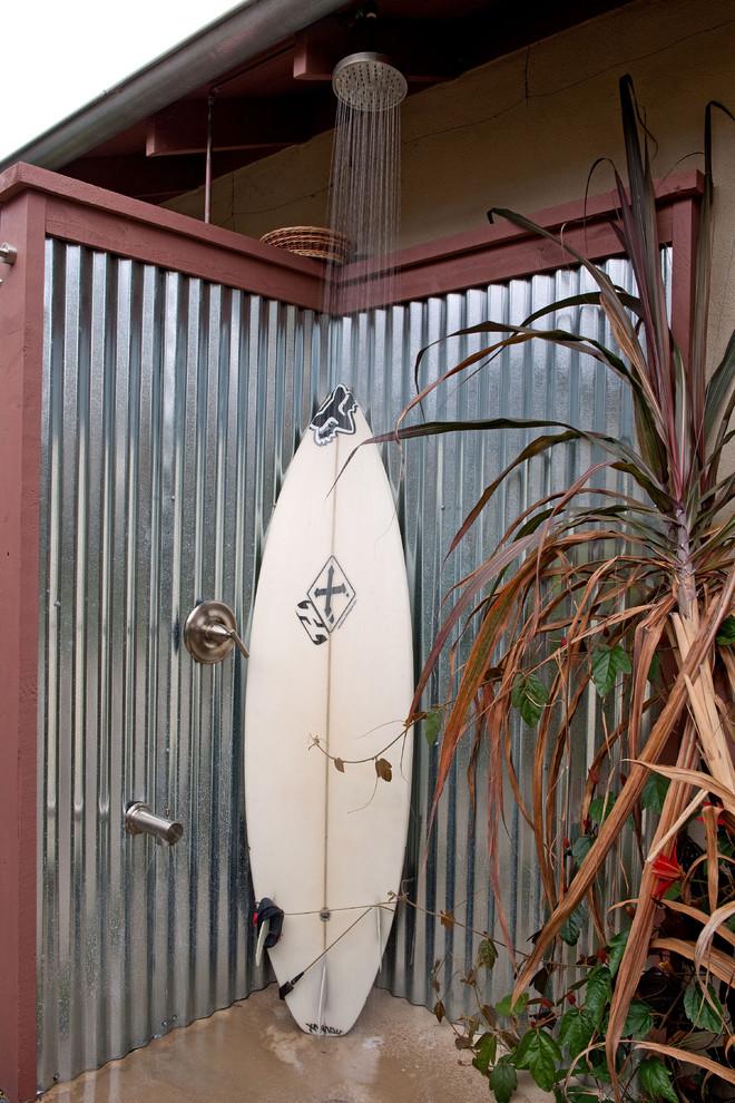 Outdoor patio shower - coastal outdoor patio shower idea in San Diego