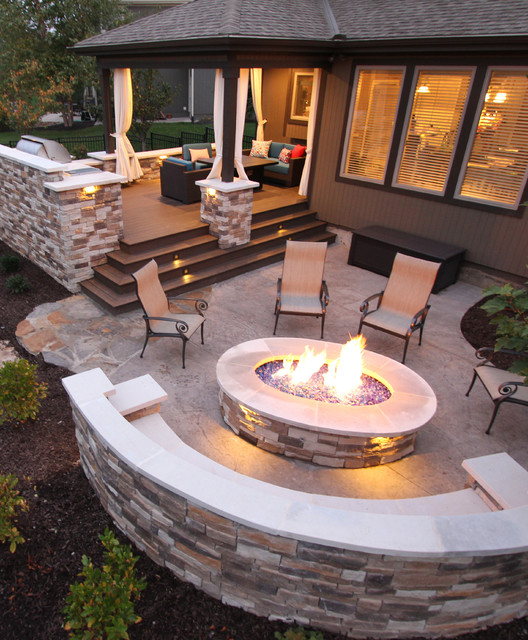 Deck + Firepit - Contemporary - Patio - Kansas City - by ... on Patio Surfaces Ideas id=20993