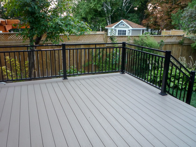 Deck In Grey With Black Rails And Posts