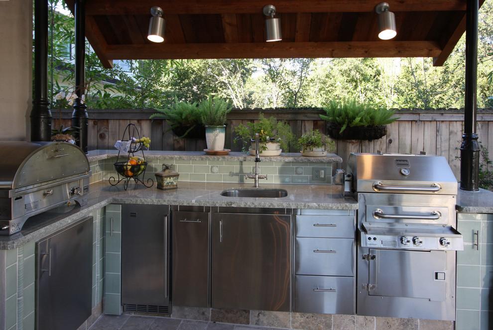 Patio - transitional patio idea in Houston