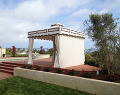 Designer Poolside Cabana with Top Vent, Curtains, and Privacy Back Closure traditional-patio