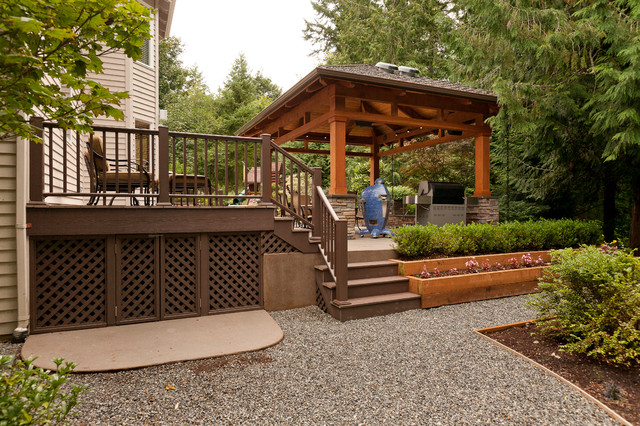 Ordinaire Patio Kitchen   Large Traditional Backyard Concrete Patio Kitchen Idea In  Seattle With A Gazebo