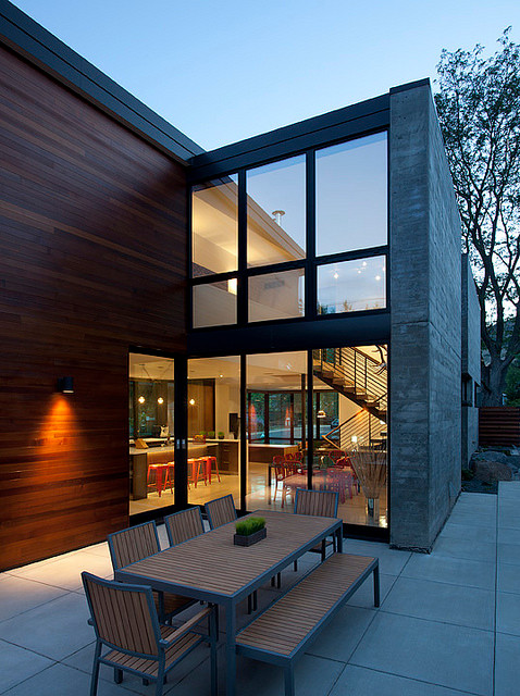 Dihedral House outdoor dining contemporary-patio