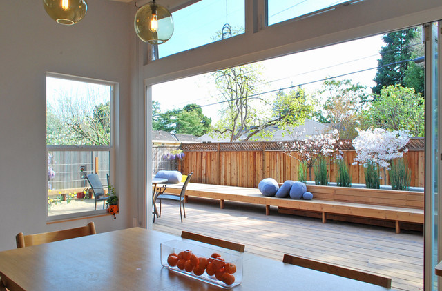 dining room and deck contemporary patio