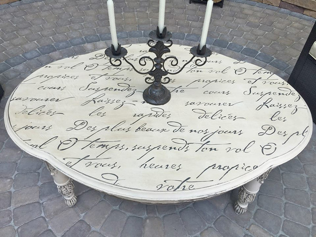 Diy French Poem Stenciled Outdoor Table Shabby Chic