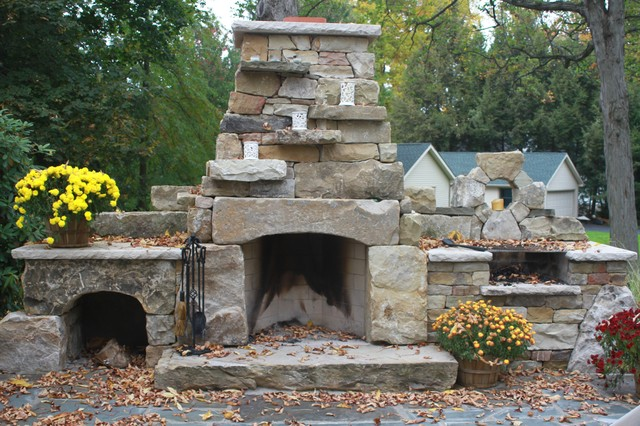 Amazing Dry Stack Outdoor Fireplace Rustic Patio