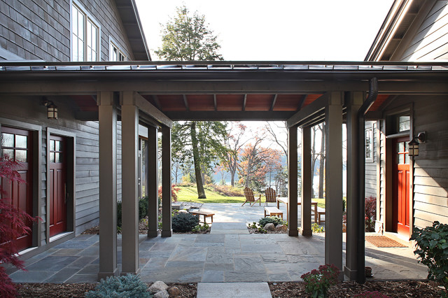 Dunham lake house traditional patio detroit by for Breezeway connecting garage to house