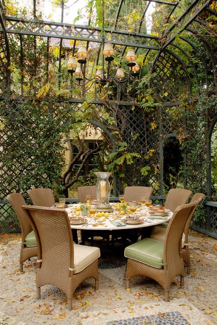 Eco friendly tuscan estate traditional patio los for 50ft garden design