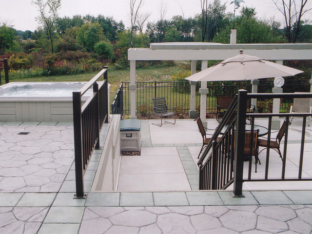 Elevated decking in the poolscape traditional-patio