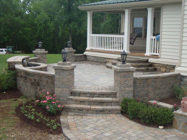 Elevated Paver Patio With Custom Wall Traditional