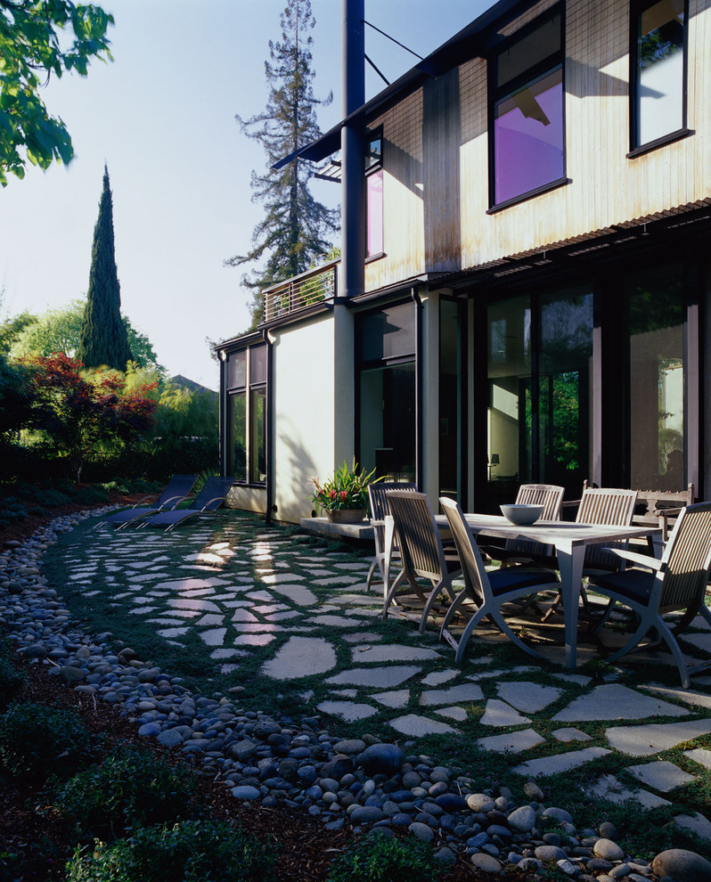Inspiration for a contemporary stone patio remodel in San Francisco with no cover