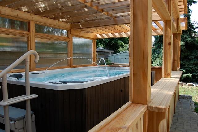 Enclosed cedar pergola for outdoor swim spa traditional for Outdoor spa decorating ideas