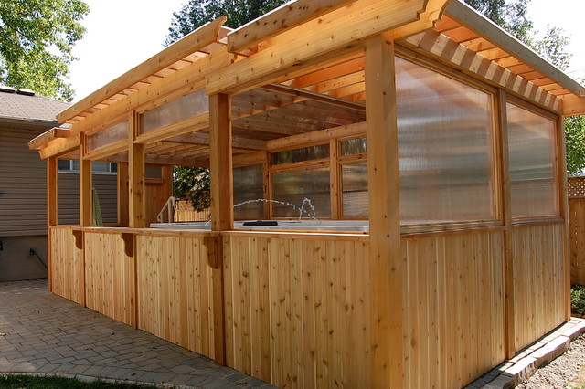 Enclosed cedar pergola for outdoor swim spa traditional for Pergola images houzz
