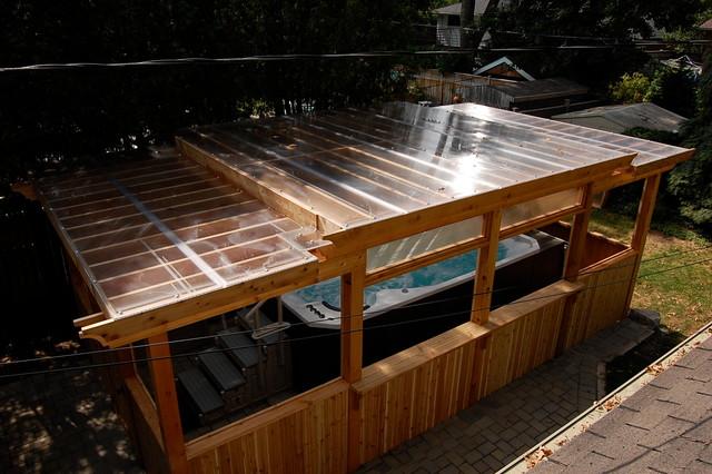 Enclosed Cedar Pergola for Outdoor Swim Spa traditional-patio - Enclosed Cedar Pergola For Outdoor Swim Spa - Traditional - Patio