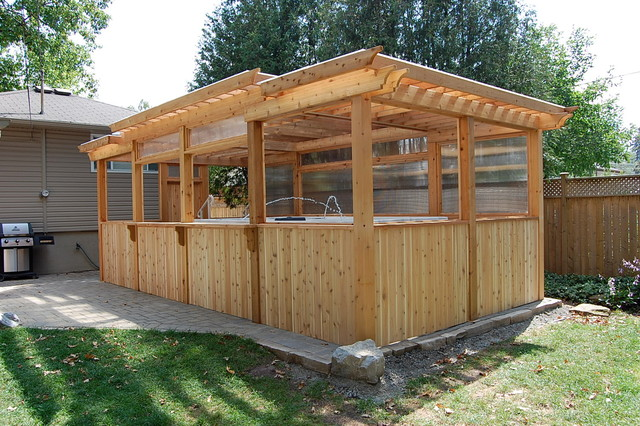 Enclosed Cedar Pergola for Outdoor Swim Spa Traditional Patio