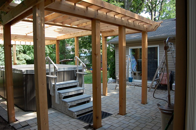 Enclosed Cedar Pergola For Outdoor Swim Spa Mid Project