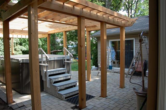Enclosed Cedar Pergola for Outdoor Swim Spa (mid-project) traditional-patio - Enclosed Cedar Pergola For Outdoor Swim Spa (mid-project
