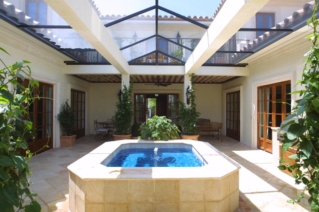Enclosed courtyard mediterranean patio miami by for Homes with enclosed courtyards